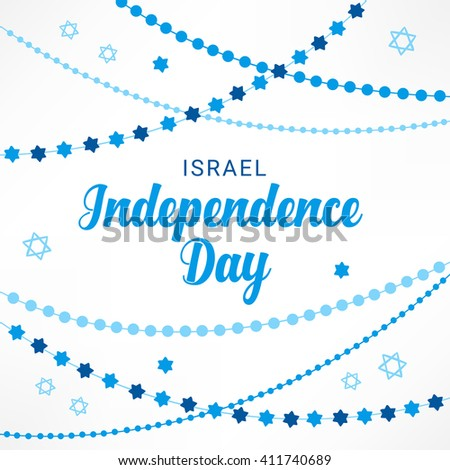 Israel Independence Day greeting card with garlands and Jewish stars in Blue and White. Perfect for Jewish greetings. Vector illustration - stock vector