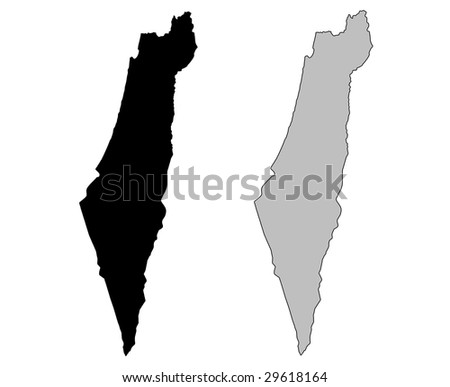 Israel map. Black and white. Mercator projection. - stock vector
