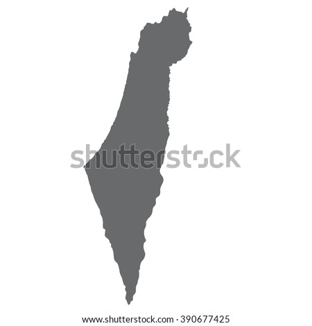 Israel map in gray on a white  background - stock vector