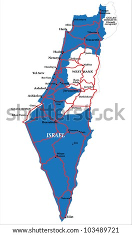 Israel map isolated - stock vector