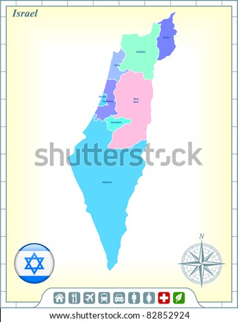 Israel Map with Flag Buttons and Assistance & Activates Icons Original Illustration - stock vector