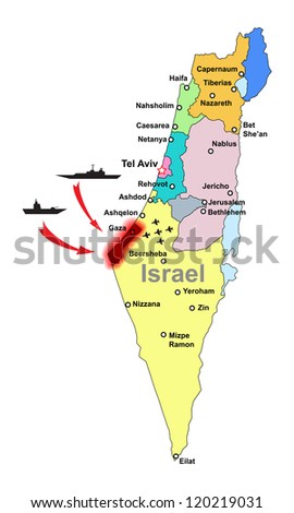 Israel military conflict - stock vector