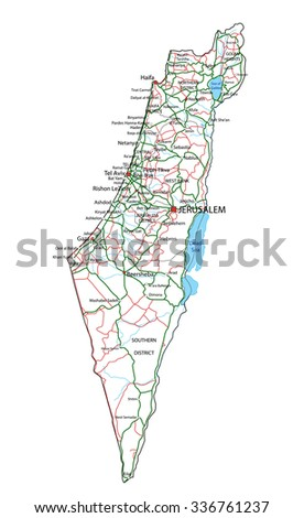 Israel Road Highway Map Vector Illustration Stock Vector 336761237
