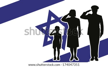 Israel soldier family salute - stock vector