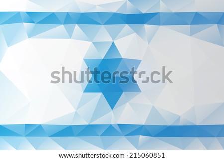 Israeli flag - triangular polygonal pattern - stock vector