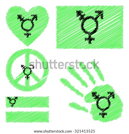 Israeli transgender and genderqueer pride flag,heart, pacific sign, equality symbol and hand print. Collection of gay culture symbols. Gay pride. Gay pride flag. LGBT, gay pride parade concept. Vector - stock vector