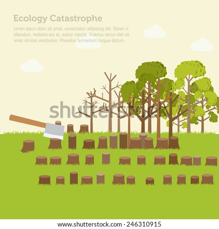 issue deforestation illustration design background. Template for website and mobile appliance concept - stock vector
