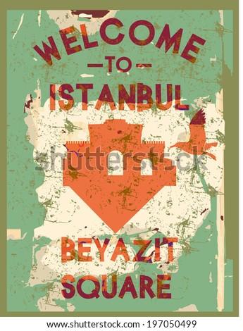 istanbul city beyazit square vector art - stock vector