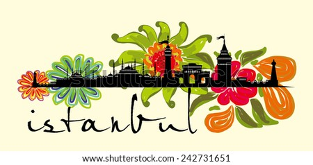 istanbul city flower vector art - stock vector