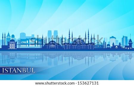 Istanbul city skyline detailed silhouette. Vector illustration - stock vector