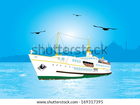 Istanbul Ferry illustration with istanbul silhouette - stock vector