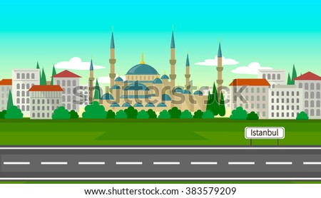 Istanbul is a city of contrasts - stock vector