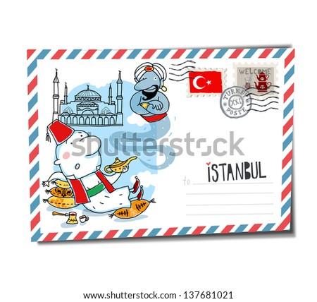 Istanbul postcard - stock vector