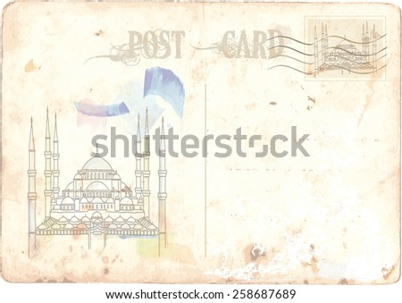 Istanbul, postcard - stock vector