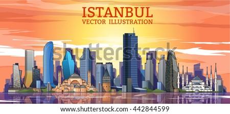 Istanbul skyline detailed silhouette. Flat vector illustration - stock vector