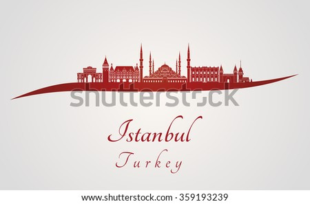 Istanbul skyline in red and gray background in editable vector file - stock vector
