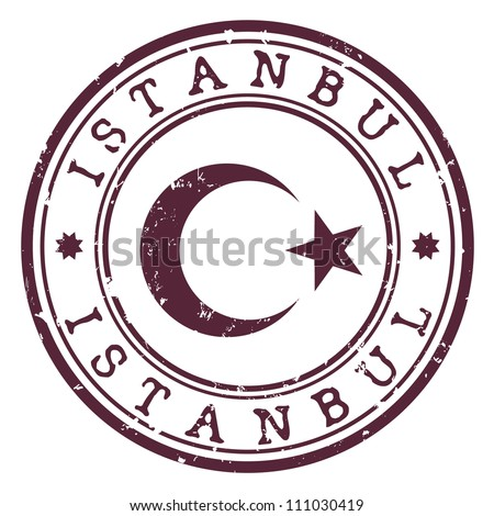 istanbul stamp - stock vector