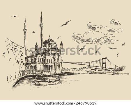 Istanbul, Turkey, city architecture, Bosphorus, vintage engraved illustration, hand drawn, sketch - stock vector