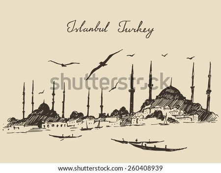 Istanbul, Turkey, city architecture, harbor, vintage engraved illustration, hand drawn, sketch - stock vector