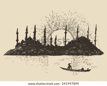 Istanbul, Turkey, city architecture, vintage engraved illustration, hand drawn, sketch - stock vector