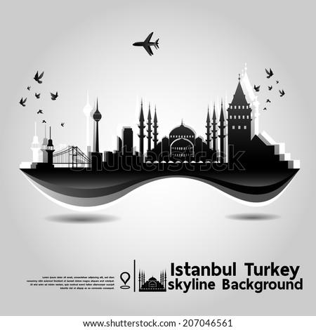 Istanbul, Turkey,skyline background,vector Illustration - stock vector