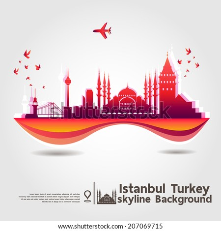 Istanbul, turkey, skyline background, vector Illustration - stock vector