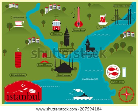 Istanbul Vector Map Illustration Istanbul Landmarks Stock Vector HD