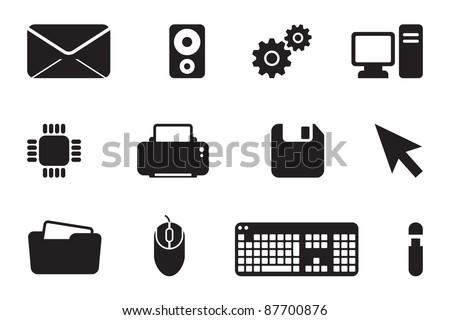 IT developer black computer icon logo set - stock vector