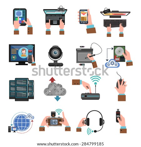 It devices and cloud computing icons flat isolated vector illustration - stock vector