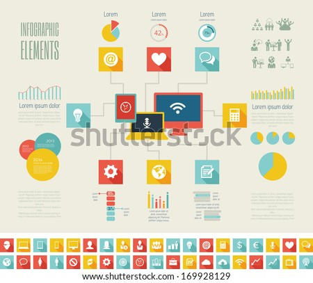IT Industry Infographic Elements. Opportunity to Highlight any Country. Vector Illustration EPS 10. - stock vector