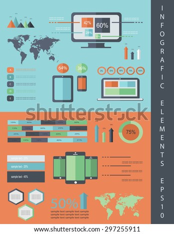 IT Infographics vector flat design, eps 10