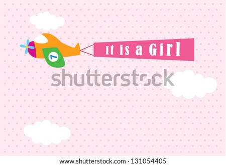 it is a girl announcement card with airplane graphic - stock vector