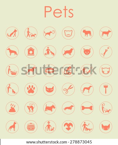 It is a set of pets simple web icons - stock vector