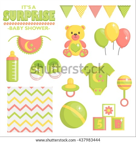 Surprise Baby Shower Items Collection Party Stock Vector 437983444