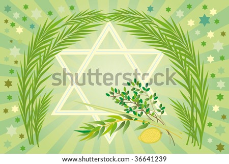 It is accepted to give all four types of plants each of which symbolizes the certain type of people. Lulav and Etrog - stock vector