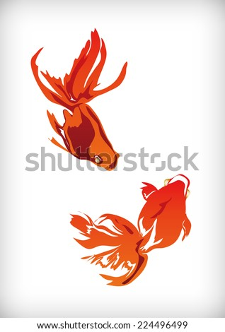 It is an illustration of goldfish Japanese style.