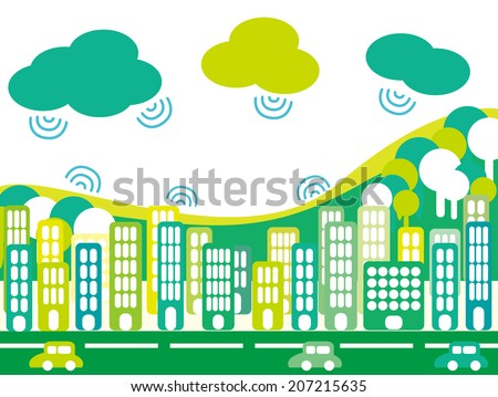 It is an illustration of the city and clouds. - stock vector