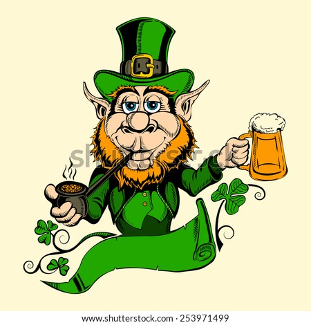 It is image of St. Patrick with a beer. - stock vector
