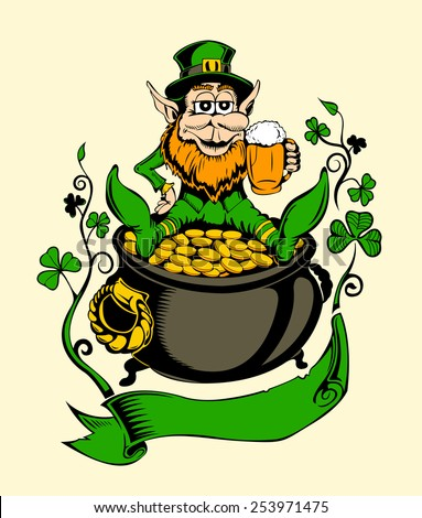 It is image of St. Patrick with a pot of gold. - stock vector