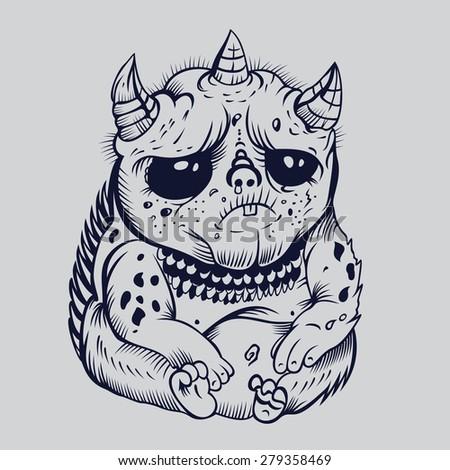 It is sad cute cartoon monsters. Fantasy. - stock vector