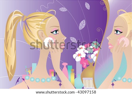 It is vector drawing. The girl washes off a make-up. The girl is painted. - stock vector