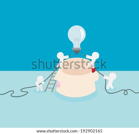 it is very important try to light up your brain. - stock vector