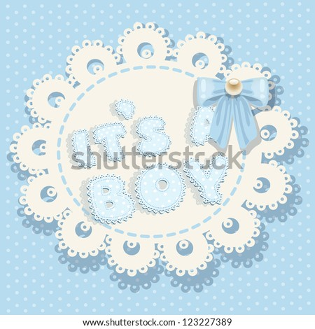 it`s a boy blue baby shower with openwork background and bow - stock vector