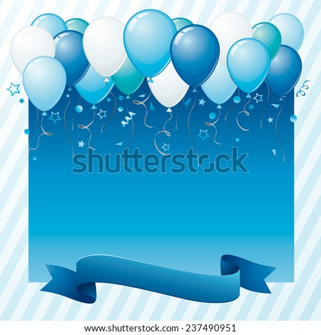 It's a boy card with colorful balloons and plenty of copy space. - stock vector