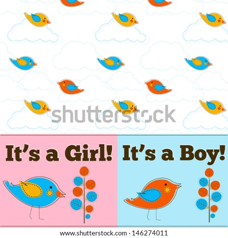 It's a boy or girl vector greeting card with birds