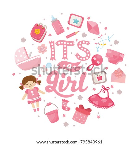 Baby Shower Card. Baby Girl Announcement Card Template. Hand Drawn