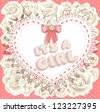 it`s a girl baby shower on heart and roses background - stock photo