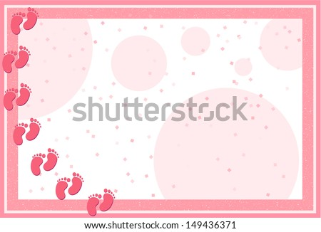 It's a Girl-Pastel frame with baby feet, dots and confetti for Baby Shower announcement - stock vector