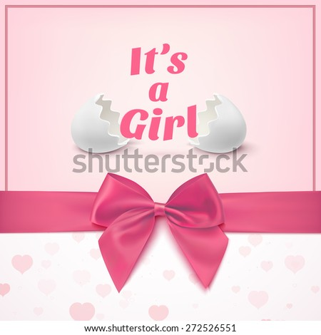 It's a girl. Template for baby shower celebration, or baby announcement card. Greeting card with two egg shells, pink ribbon and a bow. Vector illustration - stock vector