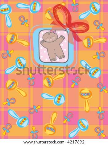 it's a GIRL! (vector) - dark skin tone baby girl / illustration - stock vector
